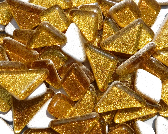 Gold Glitter Puzzle Tiles - 100 grams