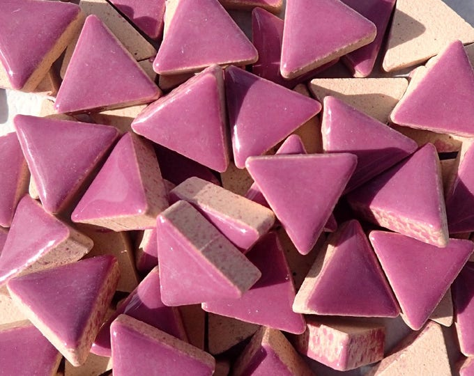 Purple Mini Triangles Mosaic Tiles - 50g Ceramic - 15mm in Violet
