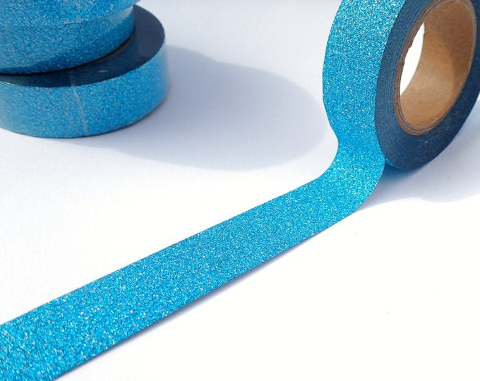 Glitter Washi Tape in Turquoise Blue - 15mm x 10m