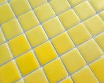 Yellow Glass Mosaic Tiles Squares - 1 inch - 25 Tiles Recycled Glass