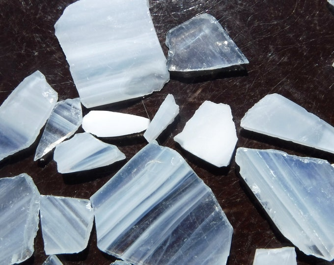Whispy White Glass Shards  - 1/2 Pound Assorted Pieces Stained Glass