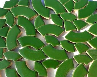 Deep Green Bullseye Mosaic Tiles - 50g Ceramic Circle Parts in Mix of 3 Sizes in Pesto