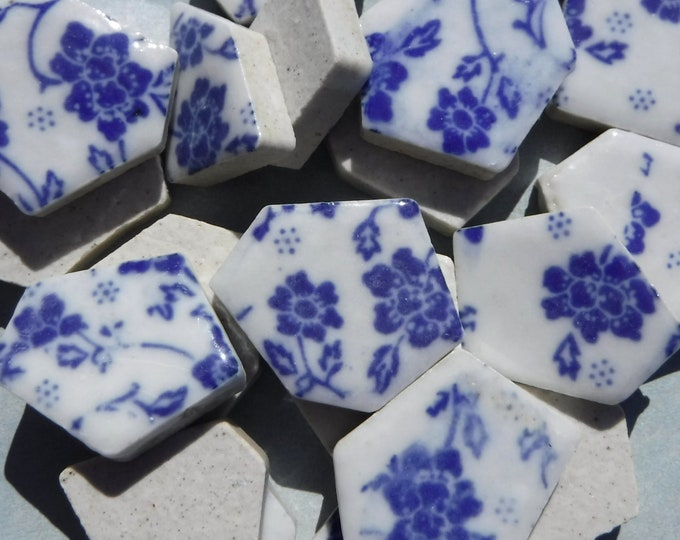 Blue and White Dainty Flowers - Chunky Mosaic Tiles - Half Pound