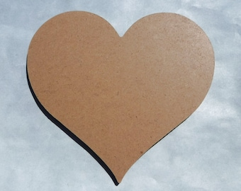 "Heart Plaque -  6""  - Unfinished MDF Thin"