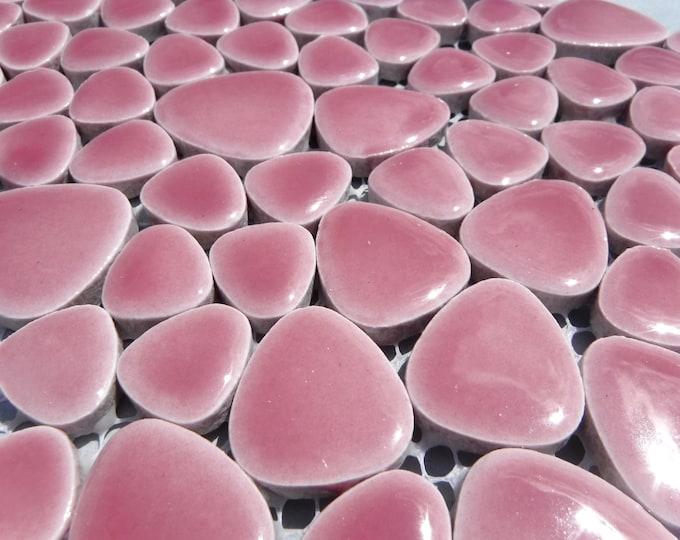 Pink Pebble Mosaic Tiles - Half Pound Porcelain Petals in Assorted Sizes