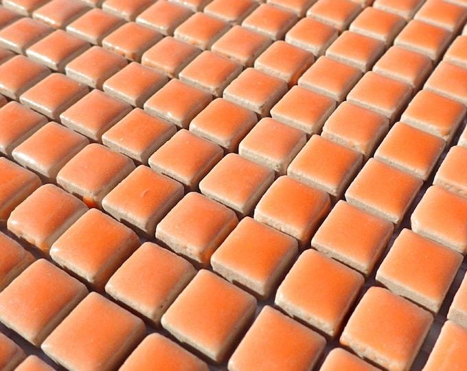 Melon Orange Square Mosaic Tiles - 1 cm Ceramic  - Half Pound in Cantaloupe