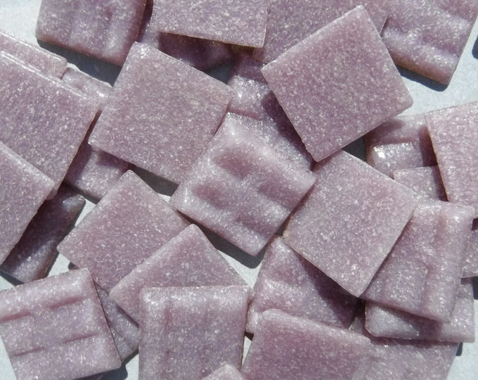 "Lilac Glass Mosaic Tiles Squares - 3/4"" - Half Pound of Vitreous Glass Tiles - Light Purple"
