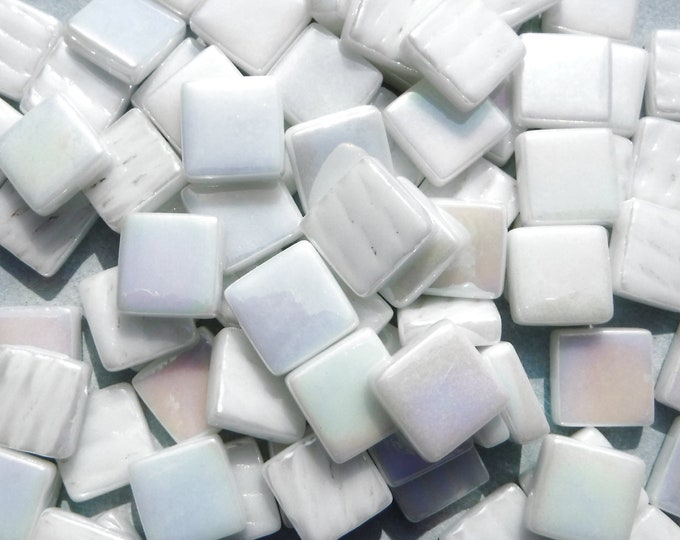 White Iridescent Glass Square Mosaic Tiles - 12mm - Opal Opaque Glass Solid Color - 50g of Squares