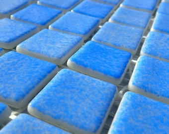Blue Splatter Glass Mosaic Tiles Squares - 1 inch - 25 Tiles for Craft Projects and Decorations - Recycled