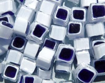 Blue and White Square Millefiori - 25 grams