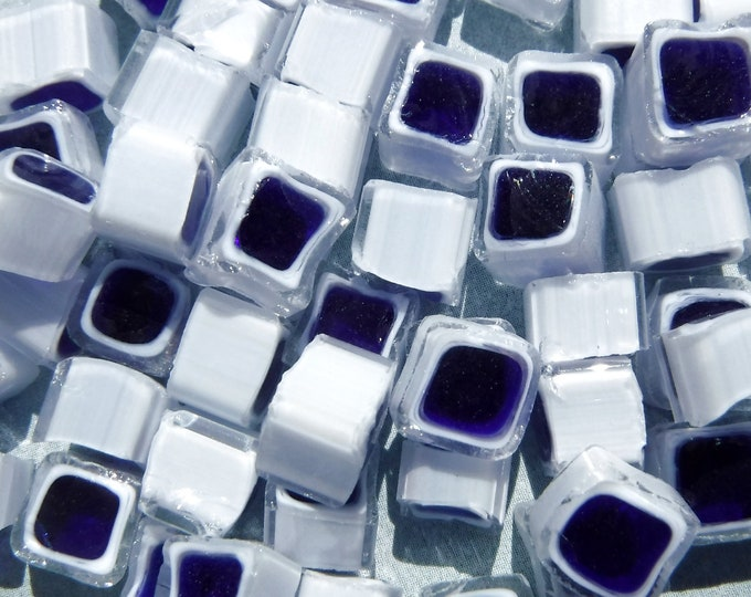 Blue and White Square Millefiori - 25 grams