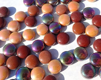 Coffee Mix Glass Drops Mosaic Tiles - 100 grams Vase Fillers - Flat Marbles Mix of Gloss and Iridescent Glass Gems Tan Brown