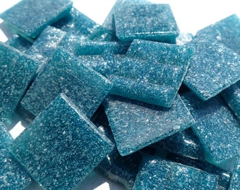 "Dark Teal Glass Mosaic Tiles Squares - 3/4"" - Half Pound of Deep Ocean Vitreous Glass Tiles for Craft Projects and Decorations"