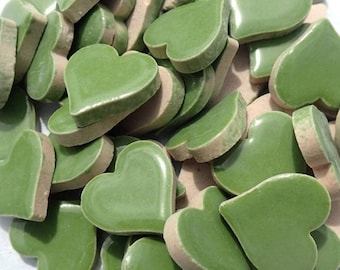 Moss Green Heart Mosaic Tiles - 25 Large Ceramic 5/8 inch Tiles