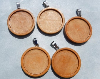 Round Wooden Pendant Tray - 1 inch