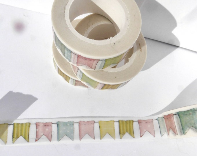 Bunting Washi Tape - Paper Tape for Baby Showers - Great for Scrapbooking Paper Crafts and Decorations - Celebrations 15mm x 10m