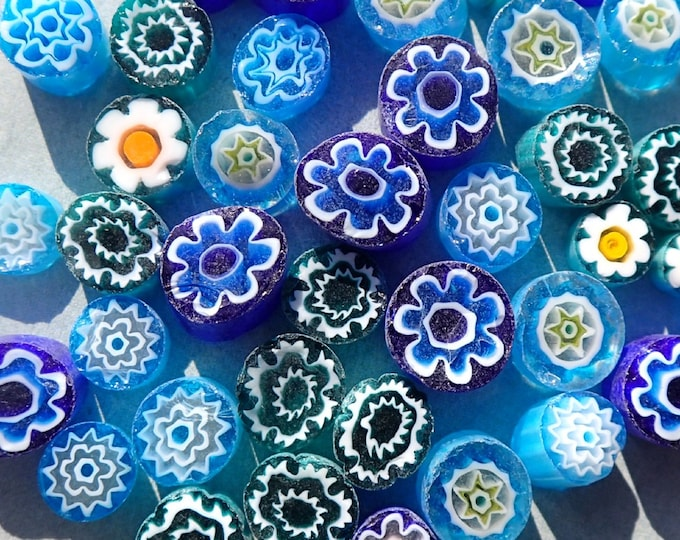 By the Sea Blue Millefiori - 25 grams - Unique Mosaic Glass Tiles - Mix of Different Floral Patterns