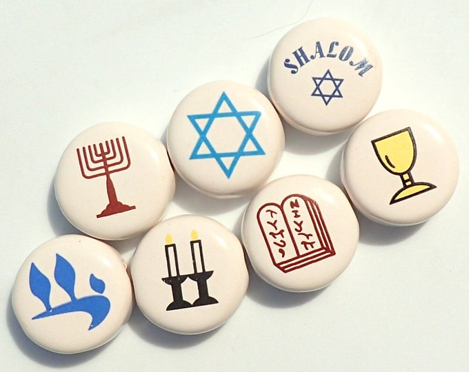 Judaic Beads -  Assortment of Star of David, Shalom, Menorah, Shabbat Candle, 10 Commandments, Kiddush Cup, and Chai - Jewish Symbols