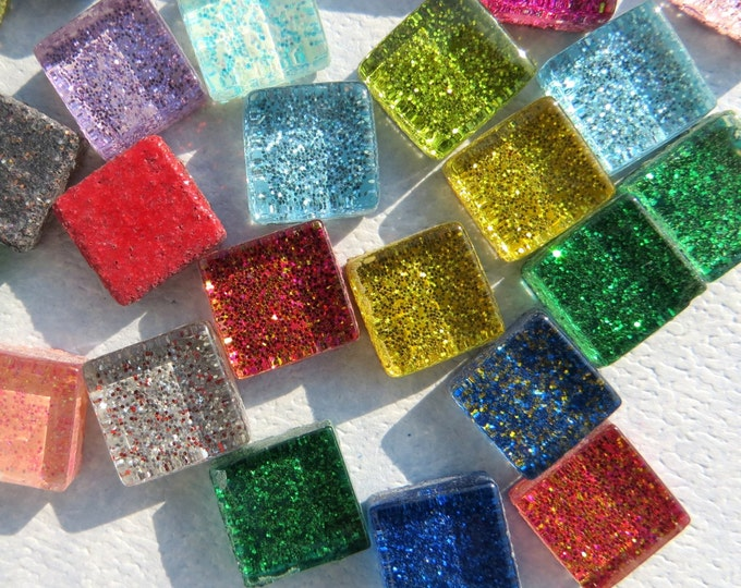Tiny Glitter Tiles - 1 cm - Assorted Colors - 100 - Use for Mosaic Jewelry - Glass Tiles