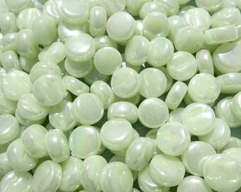 Soft Green Iridescent MINI Glass Drops Mosaic Tiles - 50 grams