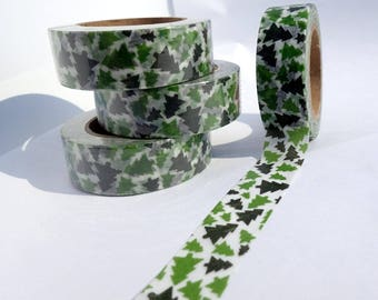 Pine Tree Washi Tape - Paper Tape Great for Scrapbooking Paper Crafts and Christmas Decorations - Christmas Trees 15mm x 10m