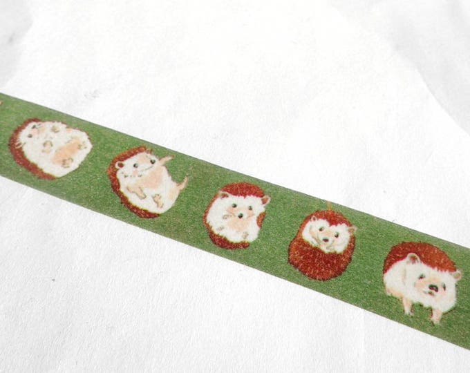 Hedgehogs Washi Tape - Paper Tape Great for Scrapbooking Paper Crafts - Woodland Animals - 15mm x 7m Use in Weekly Planner Monthly Calendar