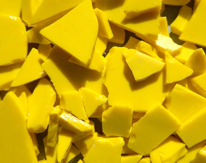 Yellow Shards Stained Glass Mosaic Tiles - 1/2 Pound