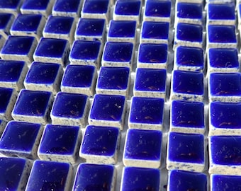Dark Blue Square Mosaic Tiles - 1 cm Ceramic  - Half Pound - Indigo