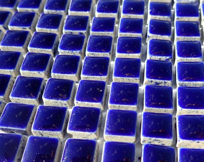 Dark Blue Square Mosaic Tiles - 1 cm Ceramic  - Half Pound - Indigo