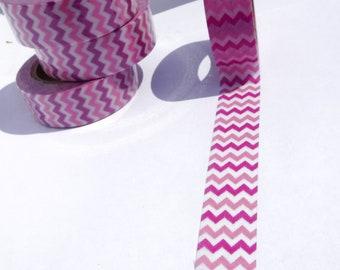 Pink and Fuchsia Chevron Washi Tape - 15mm x 10m