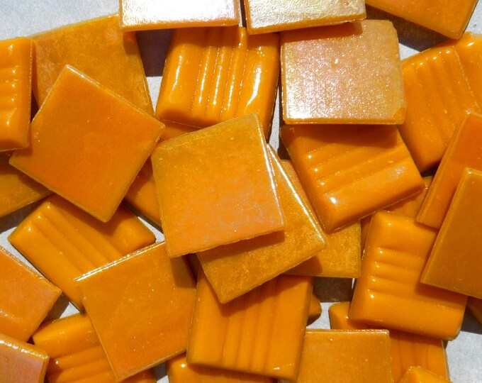 Orange Iridescent Venetian Glass Tiles - 20mm - 100 grams - Pumpkin Orange