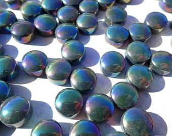 Dark Green Iridescent Glass Gems - 100 grams - 12mm