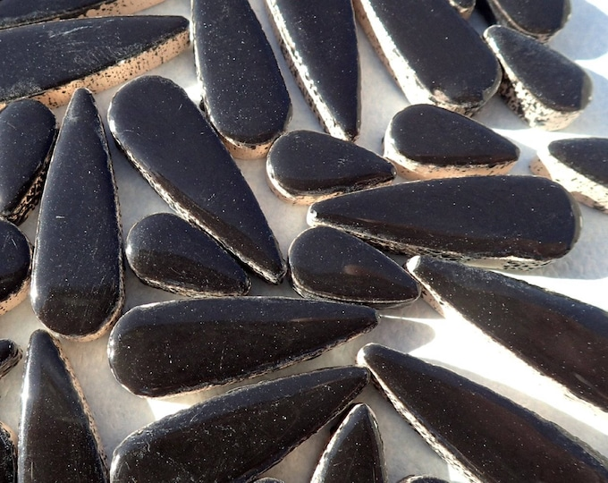 """Black Teardrop Mosaic Tiles - 50g Ceramic Petals in Mix of 2 Sizes 1/2"""" and 3/5"""" in Ebony"""