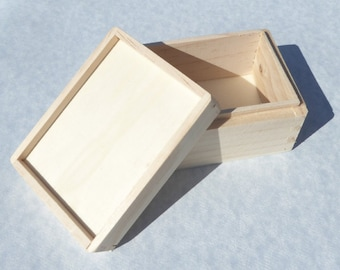 Wooden Box for Mosaics and other Crafts - Unfinished Wood with Recessed Lid Raised Edges
