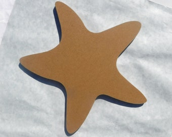 "Starfish Plaque  - Unfinished Thin MDF 8"" Sea Star"