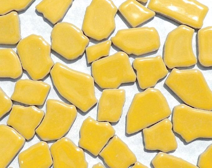 Yellow Mosaic Ceramic Tiles - Random Shapes - Half Pound - Assorted Sizes Jigsaw Puzzle Shaped Pieces - Mosaic Art Supplies