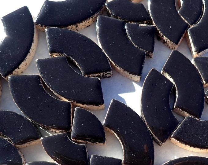 Black Bullseye Mosaic Tiles - 50g Ceramic Circle Parts in Mix of 3 Sizes