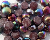 Dark Brown Iridescent Glass Drops Mosaic Tiles - 100 grams