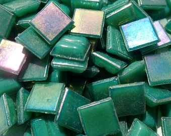 Rainforest Green Iridescent Venetian Glass Tiles - 1 cm - Approx 3/8 inch - Mosaic Tiles - 100 grams - 10mmx10mmx4mm Mini Mosaic Tiles