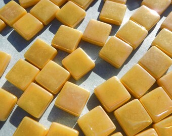 Warm Yellow Iridescent Glass 12mm Square Mosaic Tiles - 50g