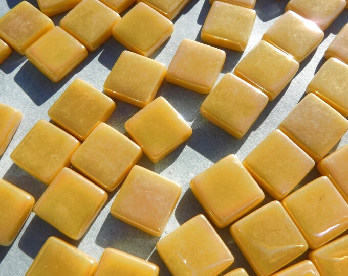 Warm Yellow Iridescent Glass 12mm Square Mosaic Tiles - 50g
