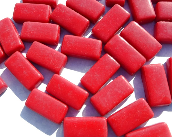 Berry Red Rectangle Mosaic Tiles - 15mm - 100g