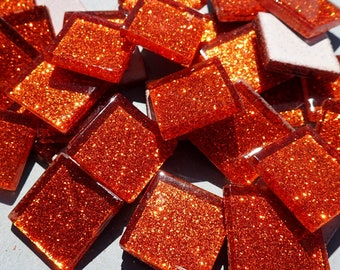 Orange Glitter Tiles - 20mm Mosaic Tiles - Set of 25