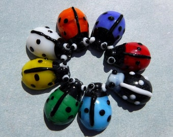 Ladybug Glass Beads - 18 Lampwork Beads - 12mm - Assorted Colors