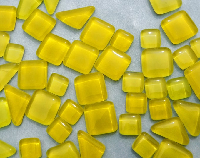 Yellow Glass Puzzle Tiles - Assorted Shapes - 100 grams