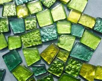 Green and Yellow Glass Tiles - Metallic Foil - Assorted Shapes - 50 grams