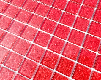 Ruby Red Glitter Tiles - 1 inch Mosaic Tiles - 25 Metallic Glass Tiles - Bright Cherry Red