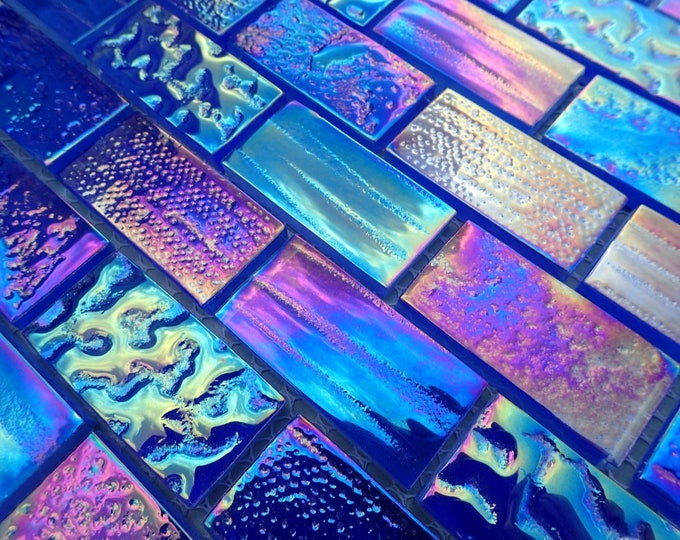 "Blue Iridescent Glass Rectangle Textured 1"" x 2"" Bars - Set of 5"