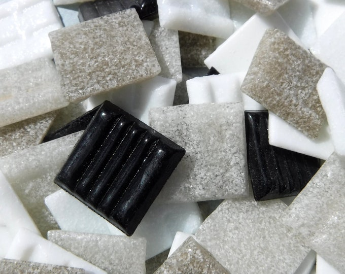 Monochrome Mix Vitreous Glass Tiles Squares - 20mm - Half Pound - Mix of White Black and Grays