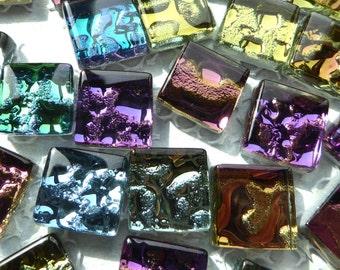 Metallic Glass Tiles - Molten Metal Look Mosaic Tiles - Half Inch Mixed Bright Colors - 100 tiles